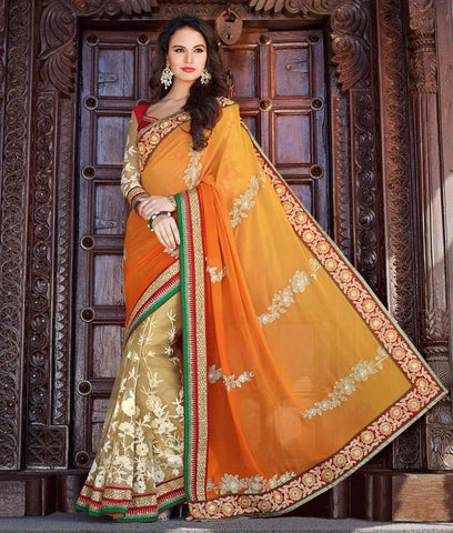 Yellow , beige,Georgette,Heavy designer party wear saree