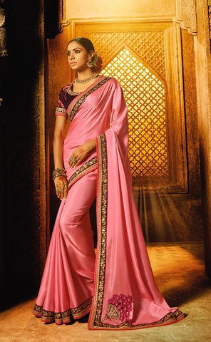 Pink Satin Party Wear Saree With Maroon Blouse