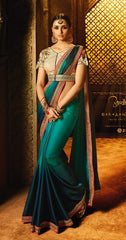 Dark Cyan  Party Wear Saree With Beige Blouse