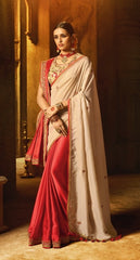 Beige Red Silk Party Wear Saree With Beige Blouse