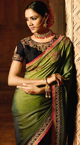 Shaded Green C*P Party Wear Saree With Green Blouse