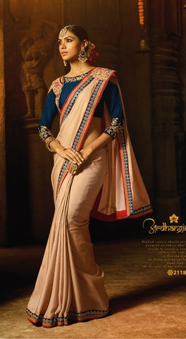 Peach  Party Wear Saree With Blue Blouse