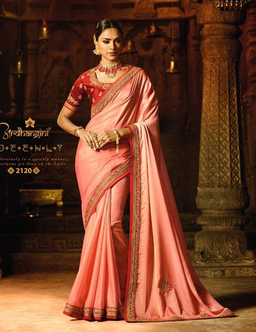 Pink Party Wear Saree With Red Blouse