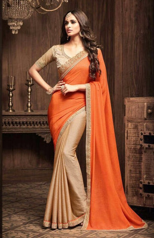 Brown And Orange Sunshine Chiffon Party Wear Saree With Brown Blouse