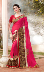 Pink Designer Saree With Pink Blouse