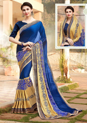Blue Designer Saree With Blue Blouse