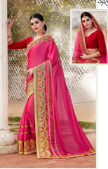 Pink Party Wear Saree With Pink Blouse