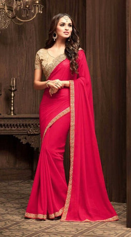 Red Star Georgette Party Wear Saree With Beige Blouse