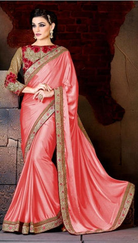 Designer Pink Party Wear Crepe Saree In Zari Work