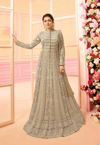 Beige Net Party Wear Fusion Style Anarkali Suit With Beige Dupatta