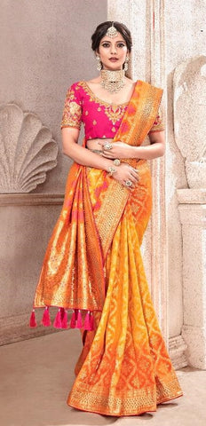 Orange Viscose Party Wear  Saree With Pink Blouse