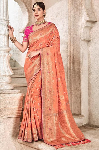 Peach Viscose Party Wear  Saree With Pink Blouse