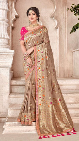 Brown Viscose Party Wear  Saree With Pink Blouse