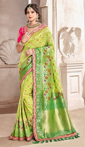 Green Viscose Party Wear  Saree With Pink Blouse