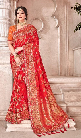 Red Viscose Party Wear  Saree With Orange Blouse