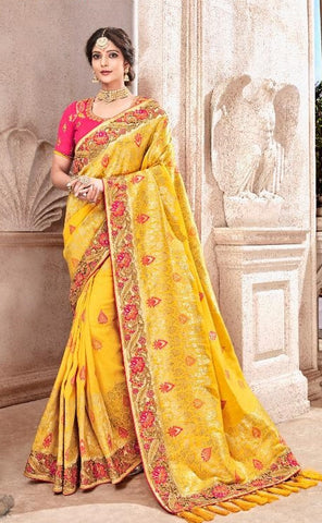 Yellow Viscose Party Wear  Saree With Pink Blouse