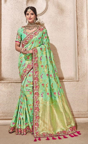 Green Viscose Party Wear  Saree With Green Blouse