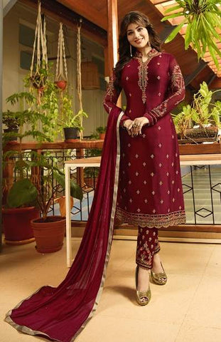 Maroon Georgette Straight Salwar Kameez With  Dupatta