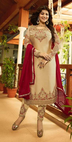 Beige Georgette Straight Suit With  Dupatta