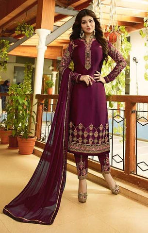 Purple Georgette Straight Salwar Suit With  Dupatta