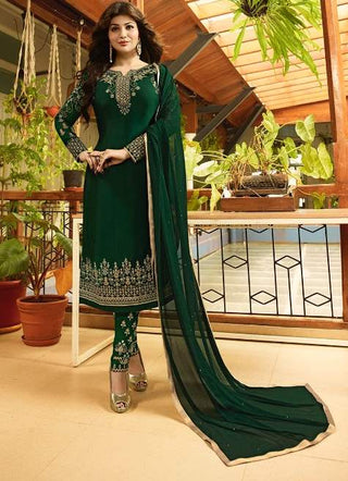 Green Georgette Straight Salwar Suit With  Dupatta