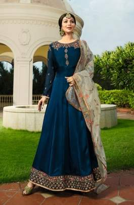 Blue Georgette Party Wear  Anarkali Dress With Beige Dupatta