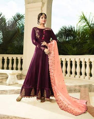 Purple Georgette Party Wear  Anarkali Suit With Peach Dupatta