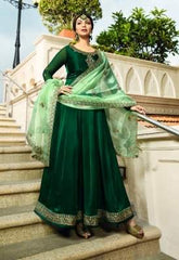 Green Georgette Party Wear  Anarkali With Green Dupatta