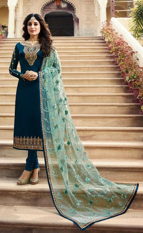 Blue Net Party Wear Salwar Suit With  Dupatta