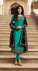 Aqua Georgette Party Wear Salwar Kameez With  Dupatta