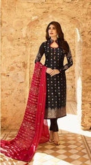 Black Satin Georgette Party Wear Salwar Suit With  Dupatta