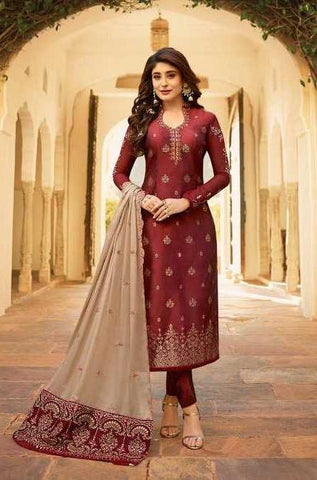Maroon Satin Georgette Party Wear Suit With  Dupatta