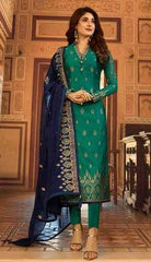 Green Satin Georgette Party Wear Salwar Kameez With  Dupatta