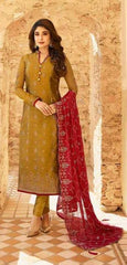 Yellow Satin Georgette Party Wear Suit With  Dupatta