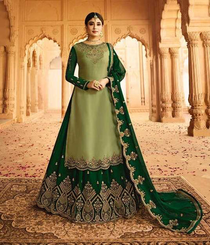 Green Satin Georgette Party Wear Lehenga With Green Choli And Green Dupatta