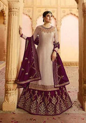 Beige Satin Georgette Party Wear Lehenga With Wine Choli And Wine Dupatta