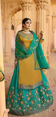 Yellow Satin Georgette Party Wear Lehenga With Green Choli And Green Dupatta