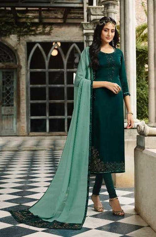 Green Satin Georgette  Party Wear Suit With  Dupatta