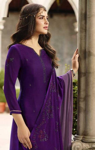 Purple Satin Georgette  Party Wear Salwar Kameez With  Dupatta