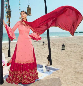 Pink Satin Georgette Party Wear Salwar Suit With  Dupatta