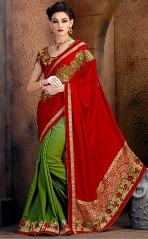 Designer Red And Green Saree in Crepe and Chiffon