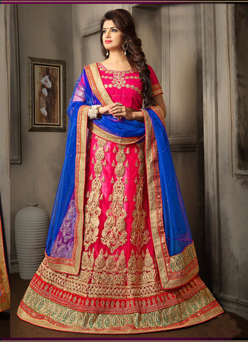 Pink , Blue,Net,Designer embroidered wedding lehenga designer lehenga