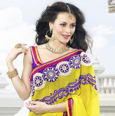 Yellow Jacquard Net Saree with embroidery and handwork
