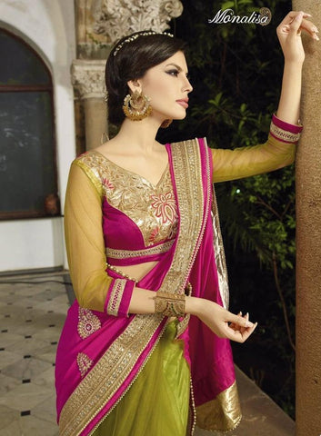 Designer pink and green  zari bridal and party wear in chiffon and net