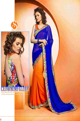 Designer Orange and Purple Pallu saree for women
