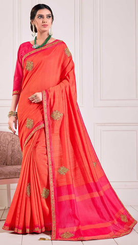 Red Poly Silk Party Wear Saree With Pink Blouse