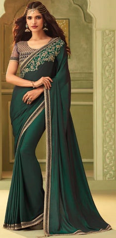 Bottle Green Mulmul Silk Party Wear Saree With Bottle Green Blouse