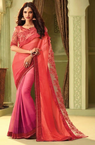 Peach Luxury Silk Party Wear Saree With Peach Blouse