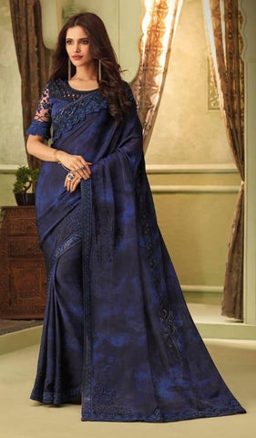 Blue Mulmul Silk Party Wear Saree With Blue Blouse