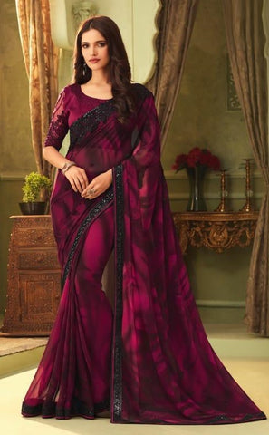 Purple Tubelight Georgette Party Wear Saree With Purple Blouse